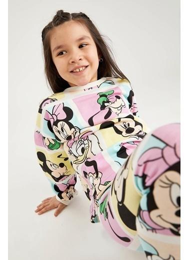DeFacto Kız Çocuk Mickey Mouse Lisanslı Crop Sweatshirt Ekru